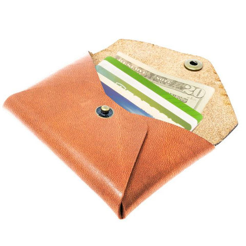 small leather coin wallet tan