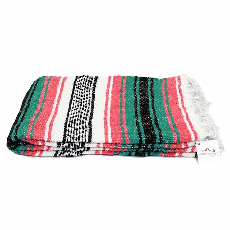 Coral and Green Mexican Falsa Blanket