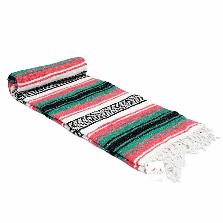 Striped Mexican Blanket - Coral and Green