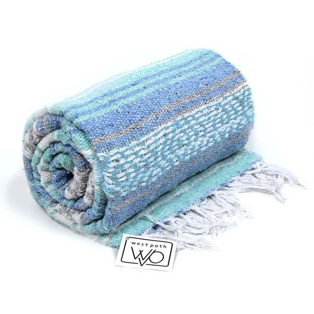 Mint and Blue Mexican Falsa Yoga Blanket