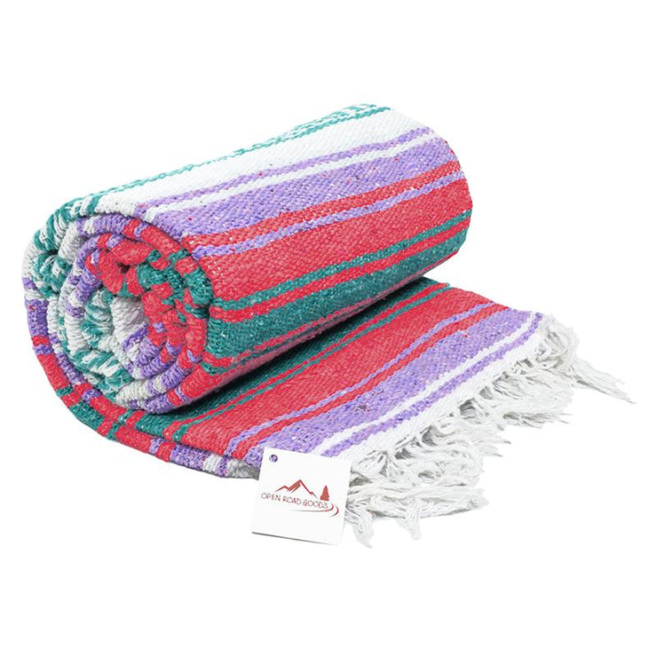 Mexican yoga blanket bolster pastel purple coral and green