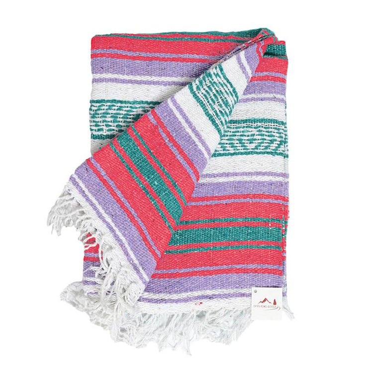 Mexican Blanket Falsa Throw with Pastel Purple and Coral