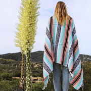 Mexican Blanket - Mint & Peach La Playa Blankets West Path