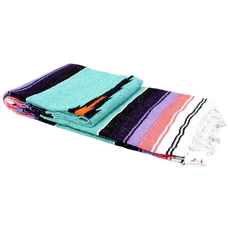 Mint diamond mexican blanket pastel purple and coral