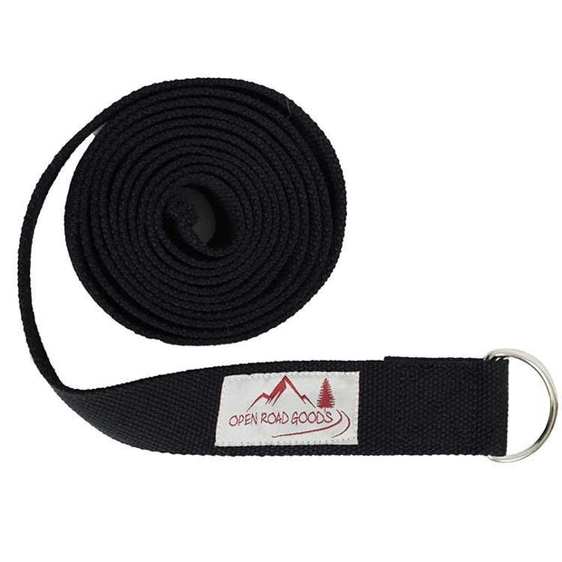 8' Cotton Stretching Strap - Black Yoga Accessories West Path Default Title
