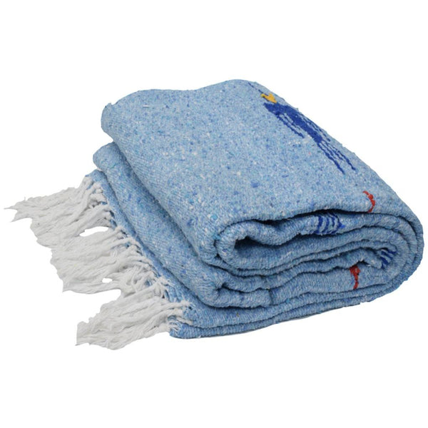 Sky Blue Mexican Blanket With