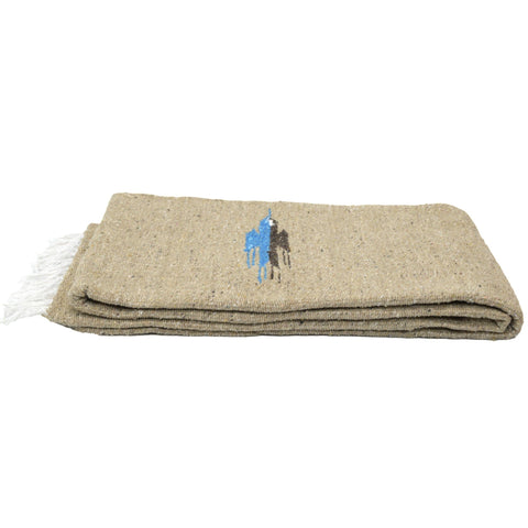 "Sand and Stone Baja Thunderbird Yoga Blanket. This yoga blanket is a thick, traditional style Mexican Thunderbird blanket. Heavier than traditional falsa blankets it makes a greatway to spice up your decor as a throw for your bed or sofa. It is made extra soft and thick, and is great for yoga as a prop or as a light cover for savasana or meditation.  Large size: Approx 78"" x 54"" Acrylic-Cotton-Polyester Blend Machine Washable and Easy to Clean Extra Soft and Thick Heavy Weight Handmade Sized for queen bed ("