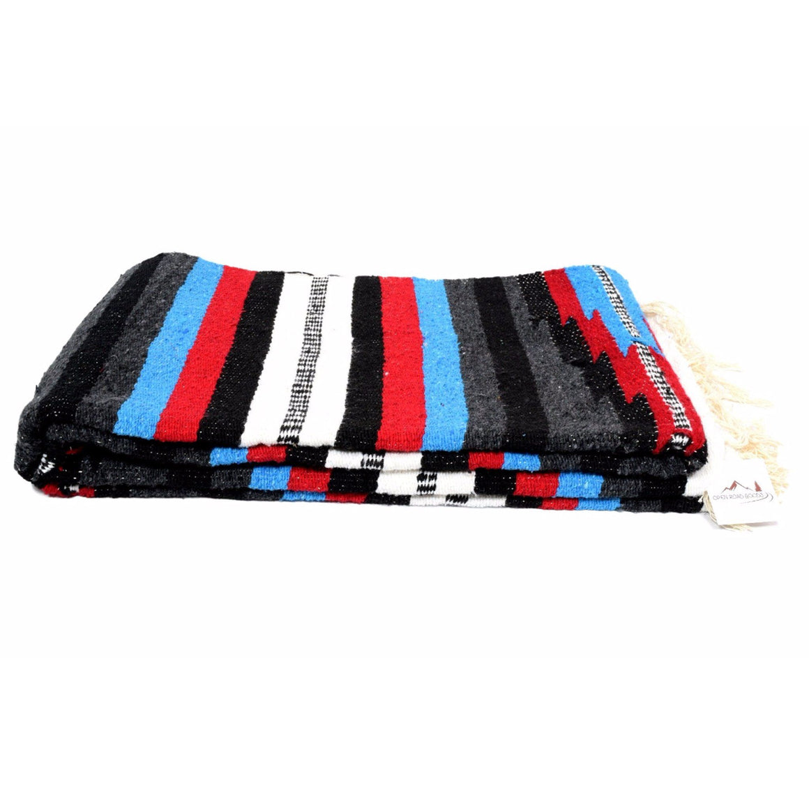 "Red, Bright Blue, Black, Gray, and White. Baja Mexican Thunderbird Yoga Blanket in our Custom Aztec Design.  Our Mexican Baja Blankets are thick and heavy weighted making them excellent for cozy throws for your bed or sofa. In your yoga practice they can be used as props and small bolsters and as a medium weight cover during savasana or meditation.   Bring them to the beach for mermaids to rest in the sun. We've heard they love them.  Features include:  Extra Large Size: 78"" x 54""  Cotton Acrylic Polyester"