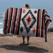 Mexican Diamond Yoga Blanket: Tan Aztec Diamond Blankets West Path