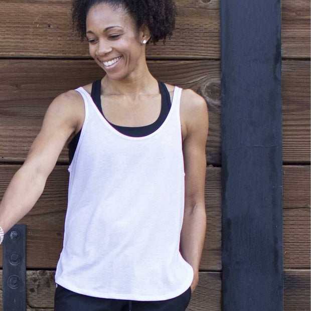 White exercise tank top womens