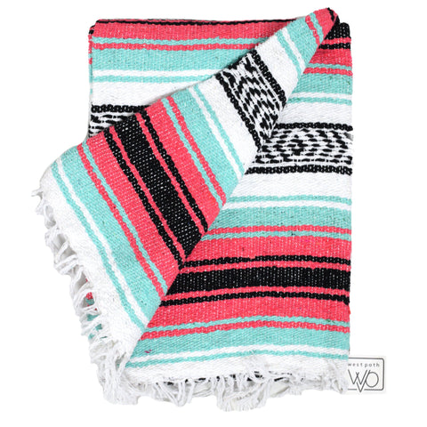 mexican yoga blanket Seafoam Green and Coral La Playa Mexican Yoga Blanket west path