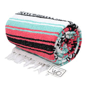 Seafoam Green and Coral La Playa Mexican Yoga Blanket