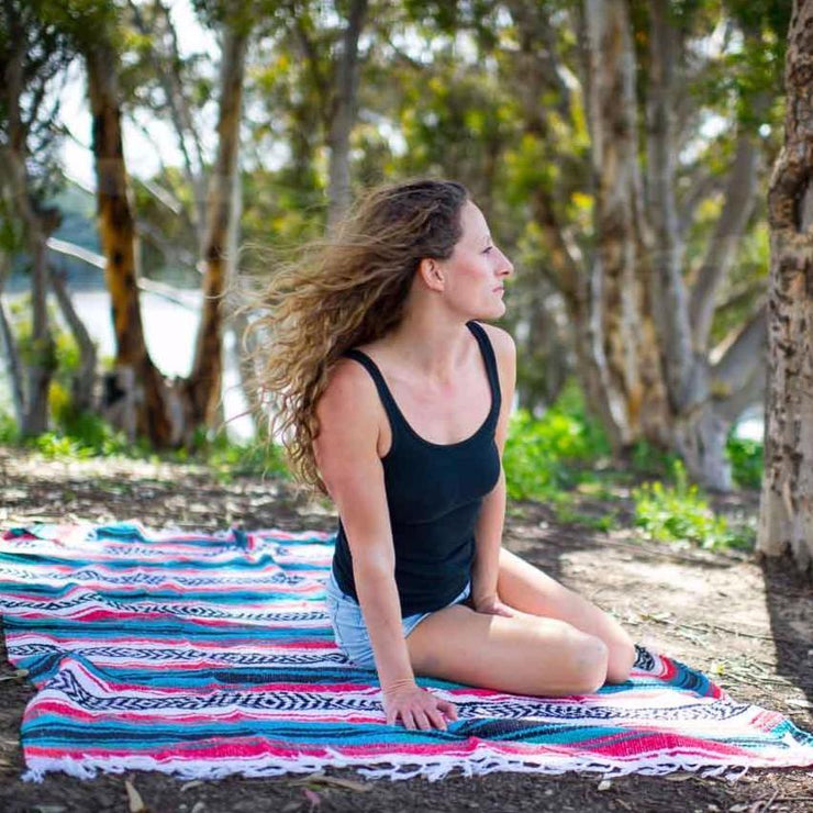Coral & Sky Blue La Playa Yoga Blanket