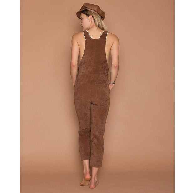 womens corduroy overalls brown
