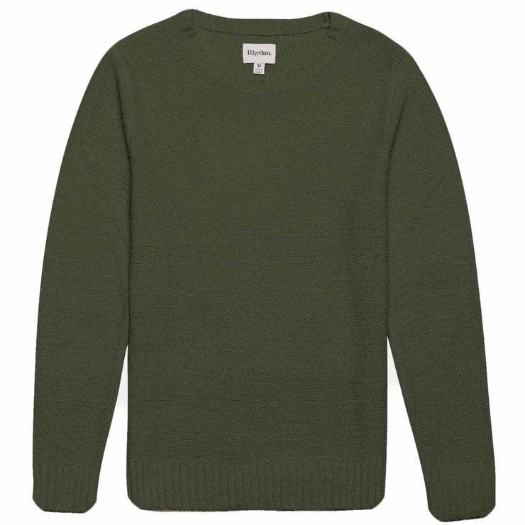 rhythm olive mens sweater knit pullover front