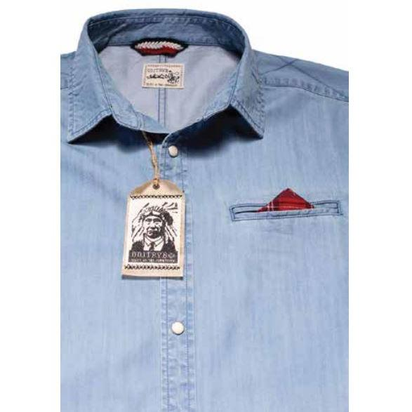 Tailored Denim Button Up with Elbow Patches