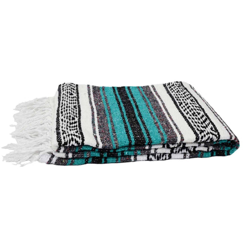 Teal Mexican Blanket - Mexican Beach Blanket by West Path