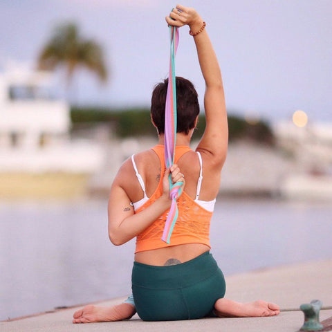Pastel 8' Cotton Yoga Stretching Strap with Metal D-ring