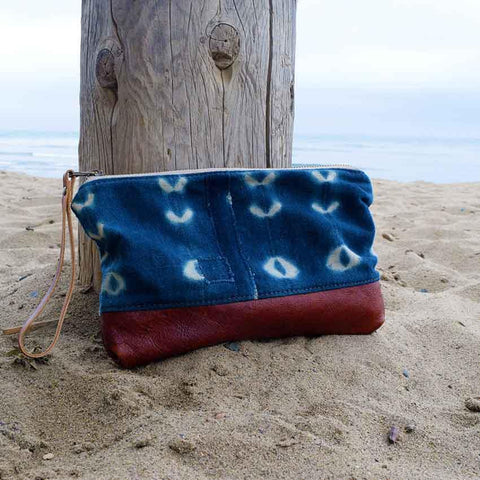 Bolt West shibori indigo dyed clutch leather bohemian beach babe
