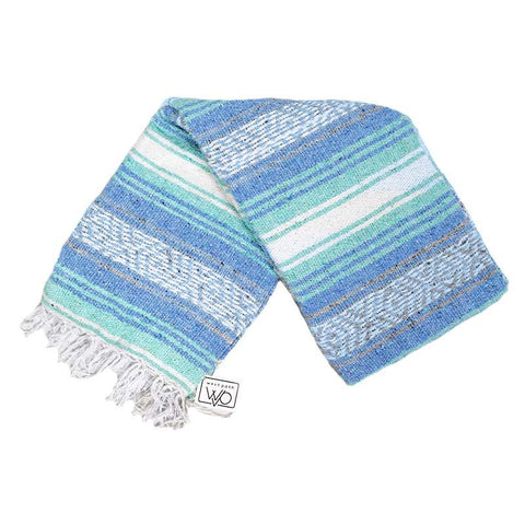 Mexican Yoga Blanket with light blue and mint