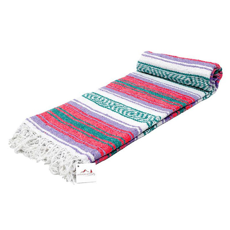 Mexican Style Throw - Authentic Mexican blanket with coral and green and purple stripes