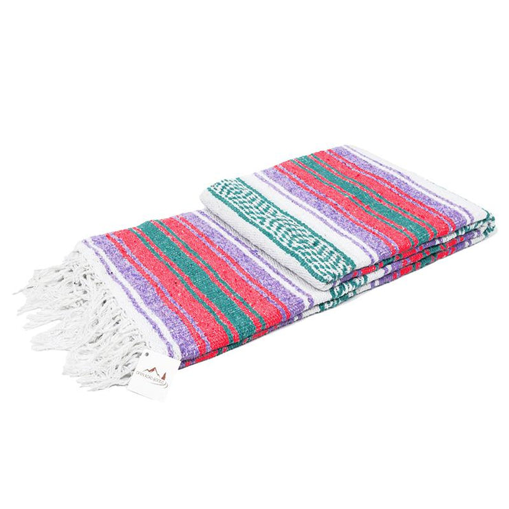 Mexican Style blanket - Coral Purple and green Falsa throw