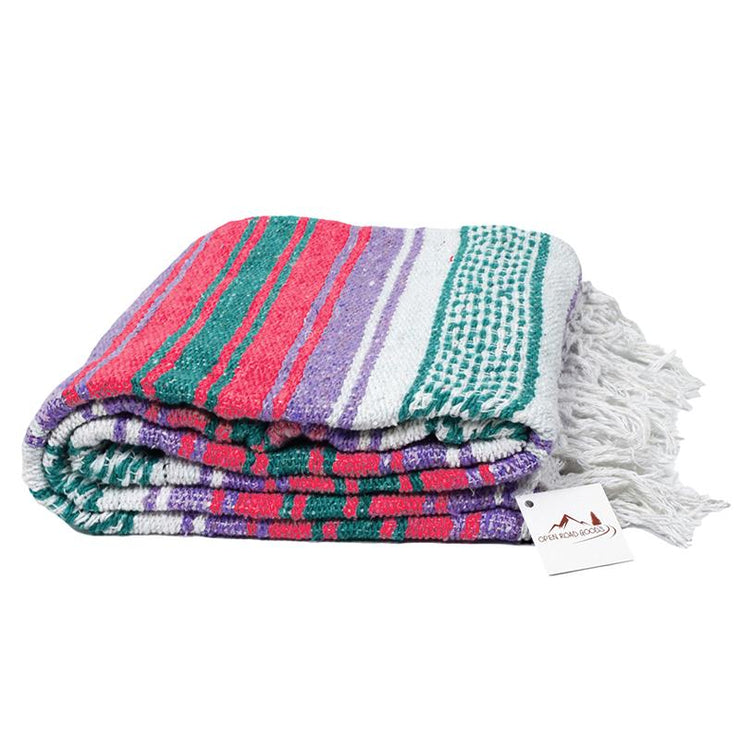 Mexican Flasa Yoga Blanket with coral and purple stripes