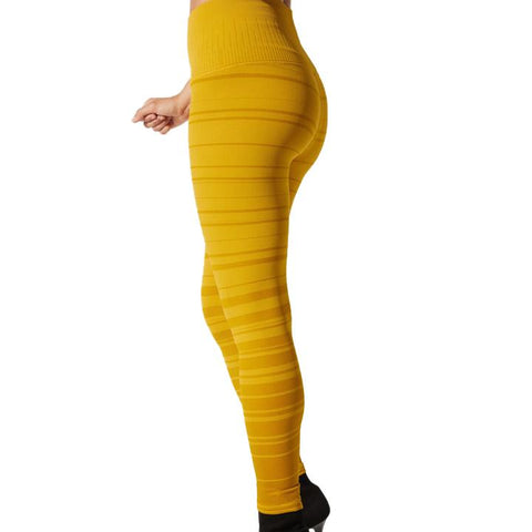 Avomuse Samantha Stripe legging Golden Palm yellow