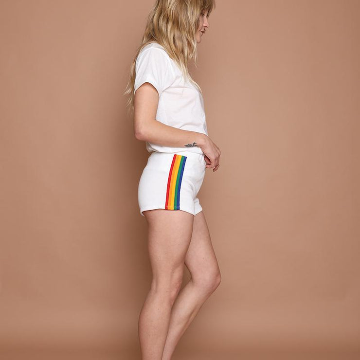 white vintage 70's rainbow track booty shorts