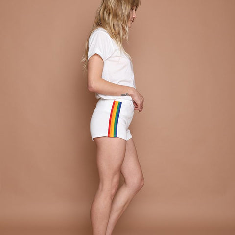 Camp Collection retro rainbow vintage track shorts