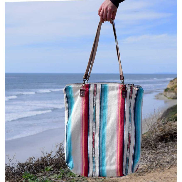 White Rainbow Striped Tote Purse