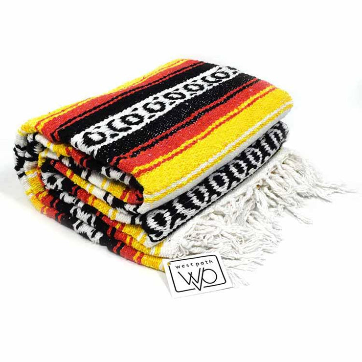 thick Mexican blanket - yellow black red orange