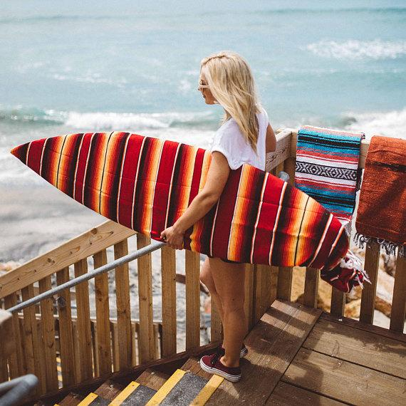 Red Surfboard Bag - Surfboard Sock Striped