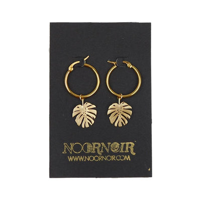 Gold Leaf Tribal Hoops Earrings NOORNOIR