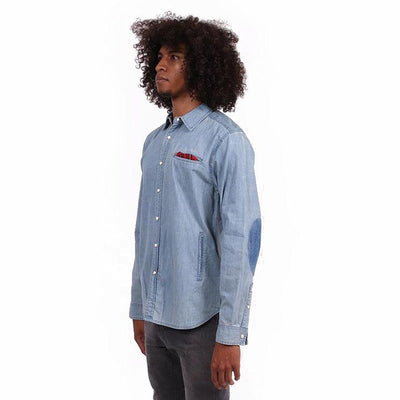 Tailored Denim Button Up with Elbow Patches Woven Shirts Unitryb