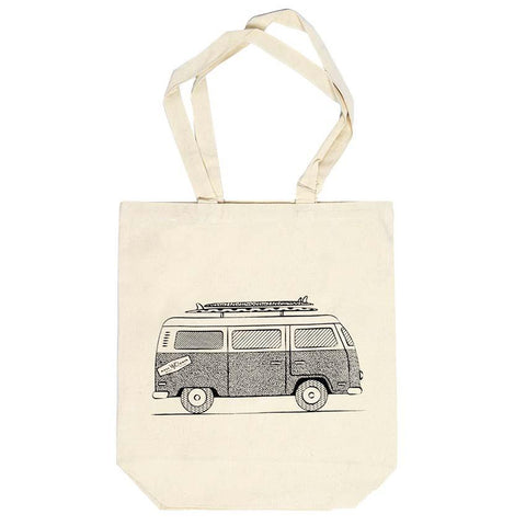 West Path Organic Cotton Canvas Tote Bag VW Bus