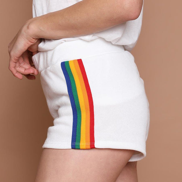 womens booty shorts - white