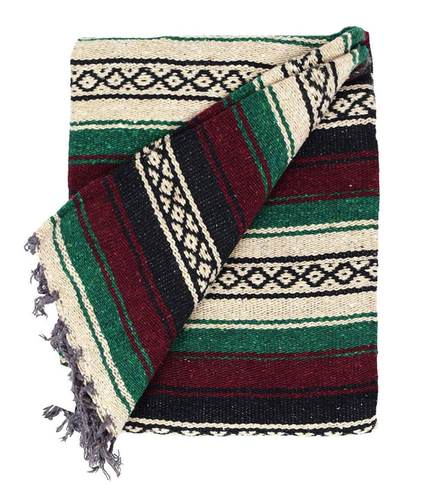 Maroon and Green Baja Mexican Blanket