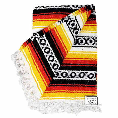 Mexican Blanket - Bright black orange yellow stripes