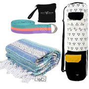 Yoga Starter Kit - Yoga Blanket, Stretching Strap, Organic Yoga Bag Yoga Starter Kit West Path Regular-Blue/Mint White & black Multi Pastel