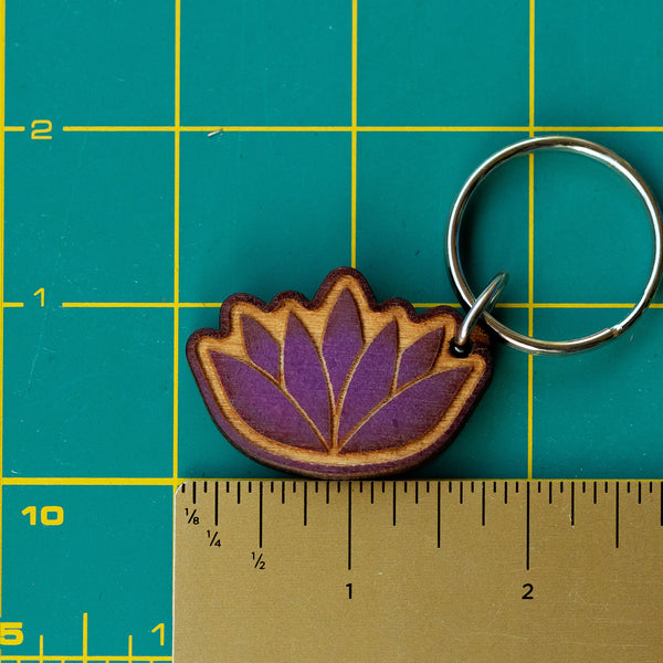 Lotus Wooden Keychain