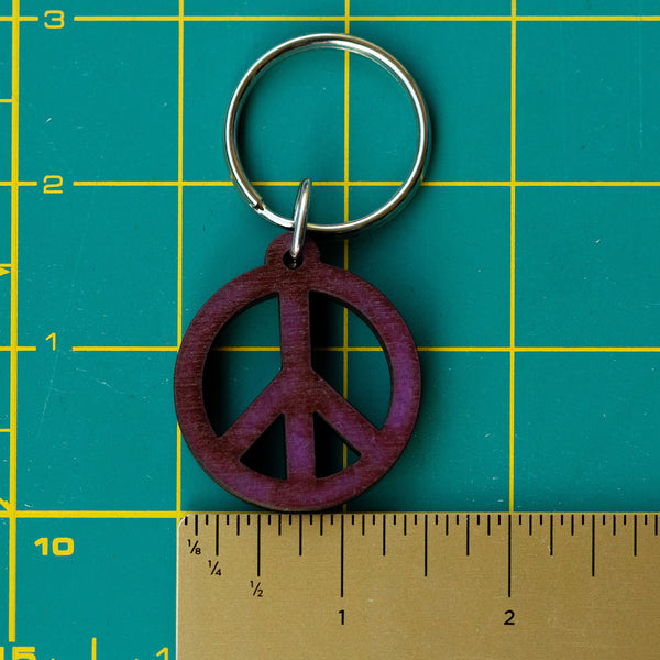 Peace Sign Wooden Keychain