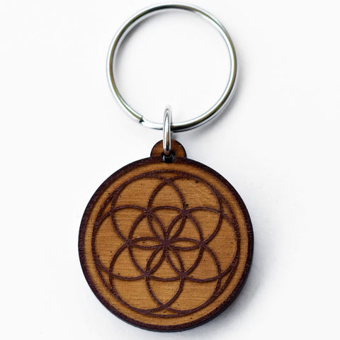 Seed of Life Wooden Keychain