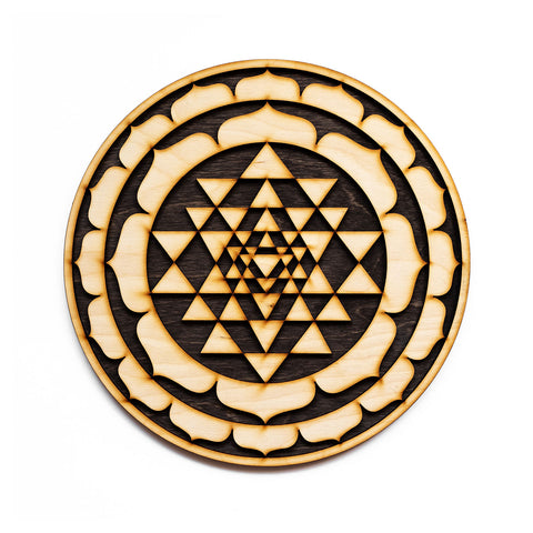 Sri Yantra Laser Cut Wood Wall Art Decoration Sacred Geometry