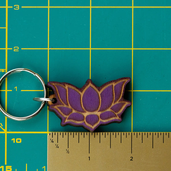 Sacred Lotus Wooden Keychain