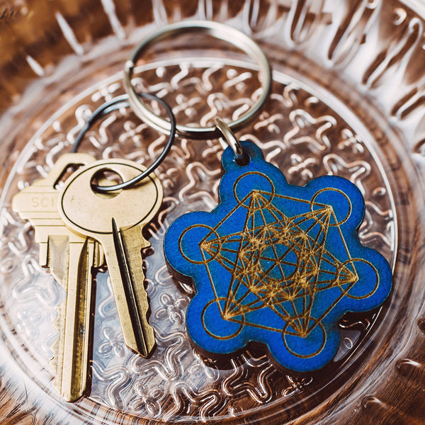 Metatrons Cube Wooden Keychain