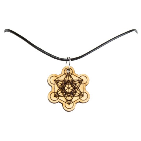 Metatrons Cube Wooden Necklace Pendant