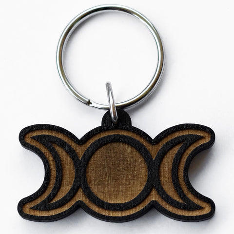 Triple Moon Wood Keychain