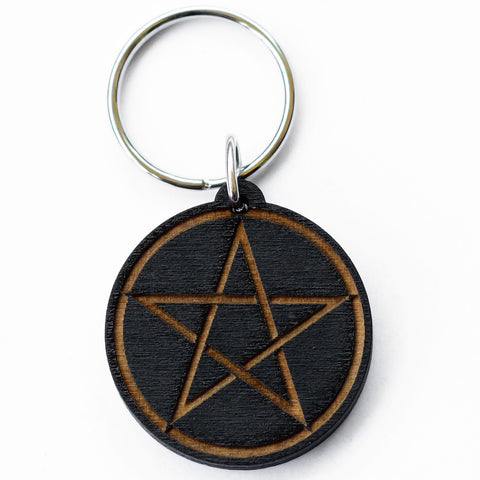 Pentacle Wood Keychain