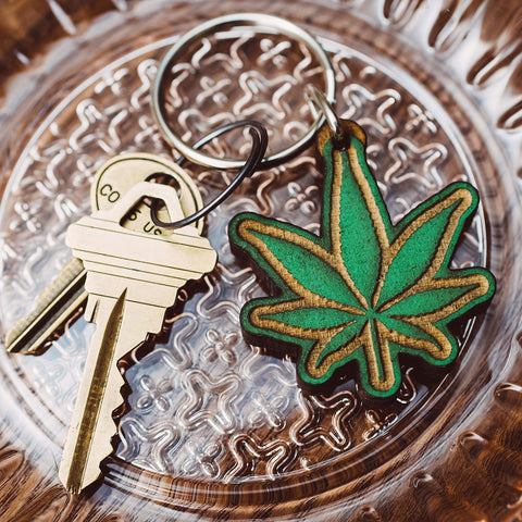 Marijuana Leaf Wood Keychain